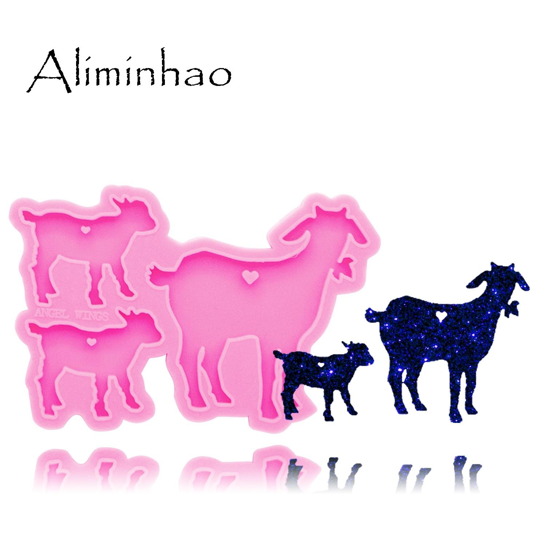 Dy0281 brilhante cabra família silicone moldes diy ovelhas pai/mãe/bebê resina epóxi chaveiros molde para moda jóias chaveiros