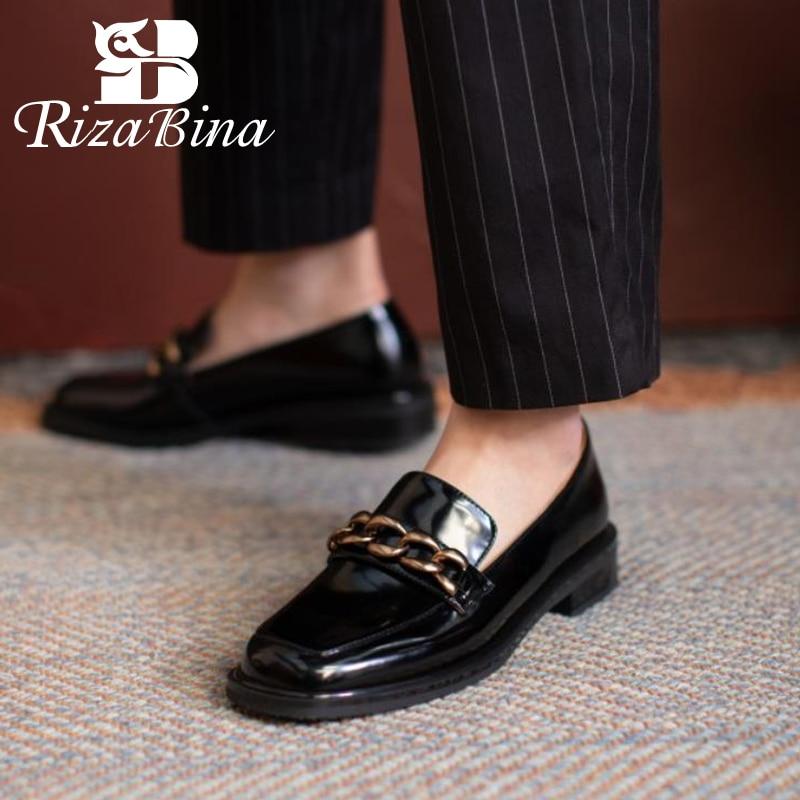 RIZABINA-حذاء مسطح من الجلد الطبيعي ريترو للنساء ، حذاء ربيعي غير رسمي للمكتب ، مقاس 34-40 ، 2021