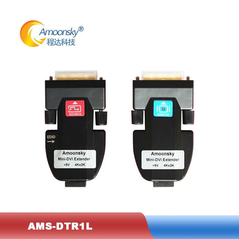 Transmisor de fibra óptica convertidor de medios de fibra AMS-DTR1L mini extensor de fibra dvi soporte 4k para pantalla led gigante