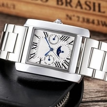 Women Casual Stainless Steel Strap Quartz Watch Men Elegant Square Retro Roman Numeral Scale Couple