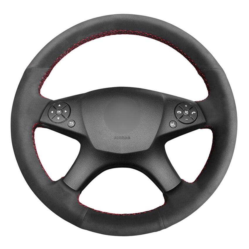 Camurça preta diy volante do carro capa para mercedes benz w204 c-class c280 c230 c260 c200 c300 2007 2008 2009 2010