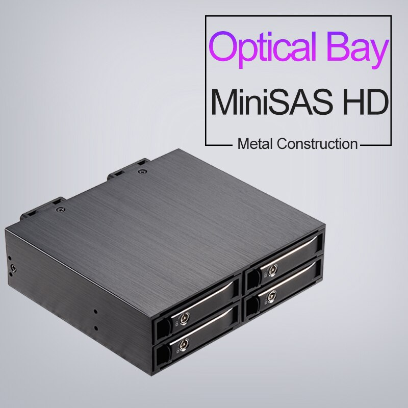 "Uneatop 2.5 ""Aluminium SATA/SAS SSD/HDD Mobile Rack Abnehmbare Backplane Fall für 5.25"" Gerät Bay"