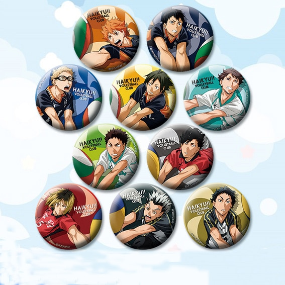 Haikyuu!! École Vollryball 58 mm Badges Nishinoya Yuu Kozume Kenma rond icônes broches