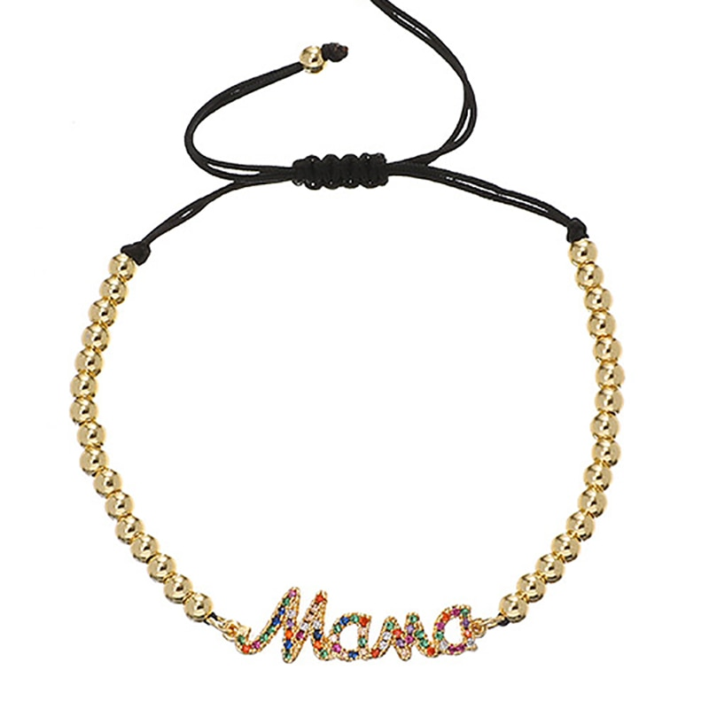 2021 New Gold Chain Bracelets for Women Simple Charming MAMA Pendant Bracelet Statement Bangles Wedding Jewelry Gift