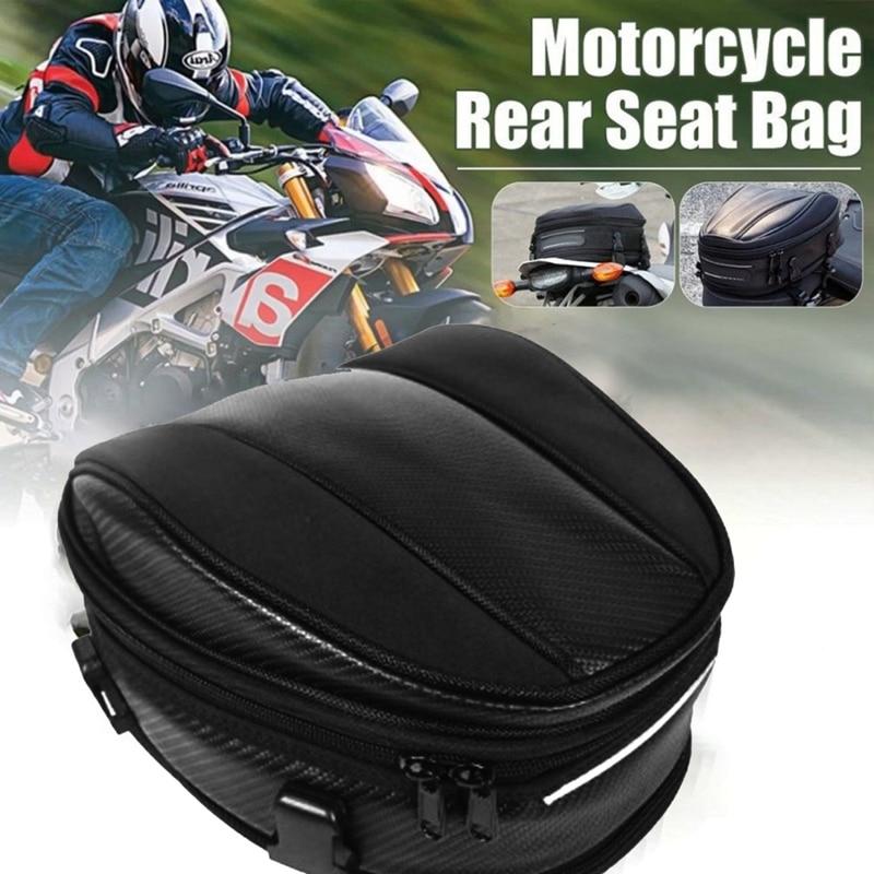 حقيبة مقعد خلفية عالمية للدراجات النارية ، سعة كبيرة 7.5 لتر-10 لتر ، مع حزام ، مقاوم للماء ، حقيبة دراجة من قماش أكسفورد
