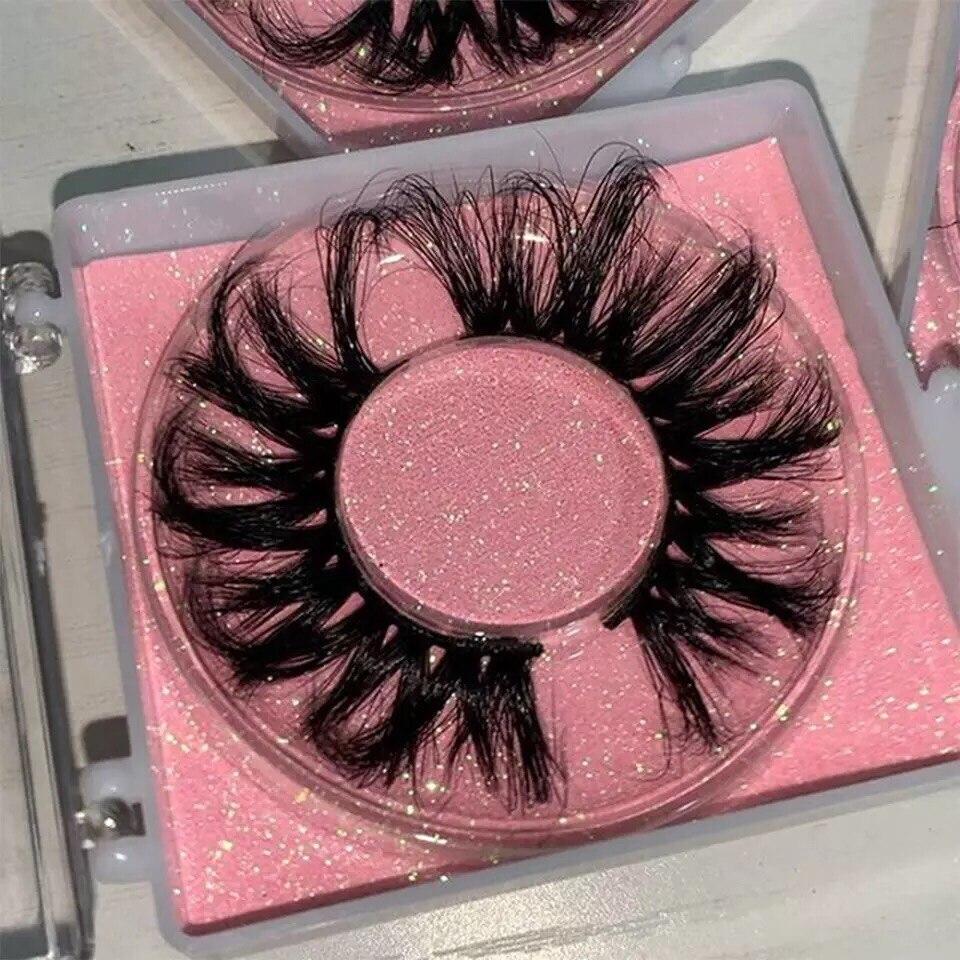 BossGirl cils 25 mm cils vison gros cils en vrac carré cils étui rose paillettes livraison rapide gratuite
