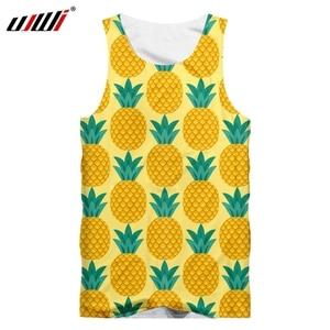 UJWI Tank Yop Man Fashion 3D Tank Tops Print Yellow Pineapple horrible Plus Size Attire For Men Summer Sleeveless Shirt