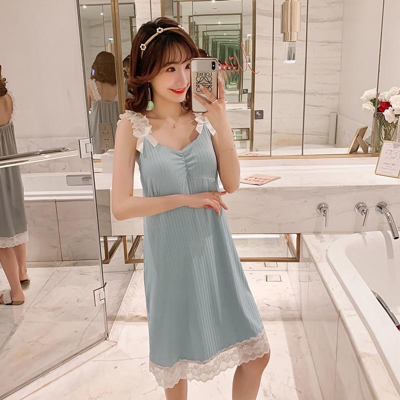 Sanderala Sexy Women Lace Sleepdress Plue Size Lingerie Cute Nightdress Soft Thin Female Padded Underwear Nightgown Home Wear