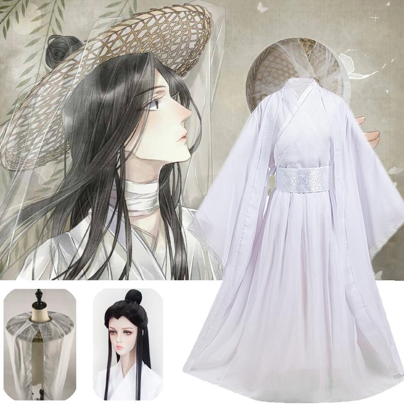 Fantasia de Cosplay Xielian de Bambu Roupa de Anime Tian Guan Peruca Adereço Branco Han Unissex ci fu