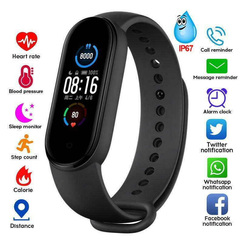 M5 Smart Watches Smart Band Sport Fitness Tracker Pedometer Heart Rate Blood Pressure Monitor Bluetooth Bracelet Men Women M5