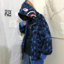 Женская толстовка японский прилив бренд камуфляжная хип-хоп свободные BF кардиган на молнии пара толстовки с капюшоном куртка для мужчин и ж...