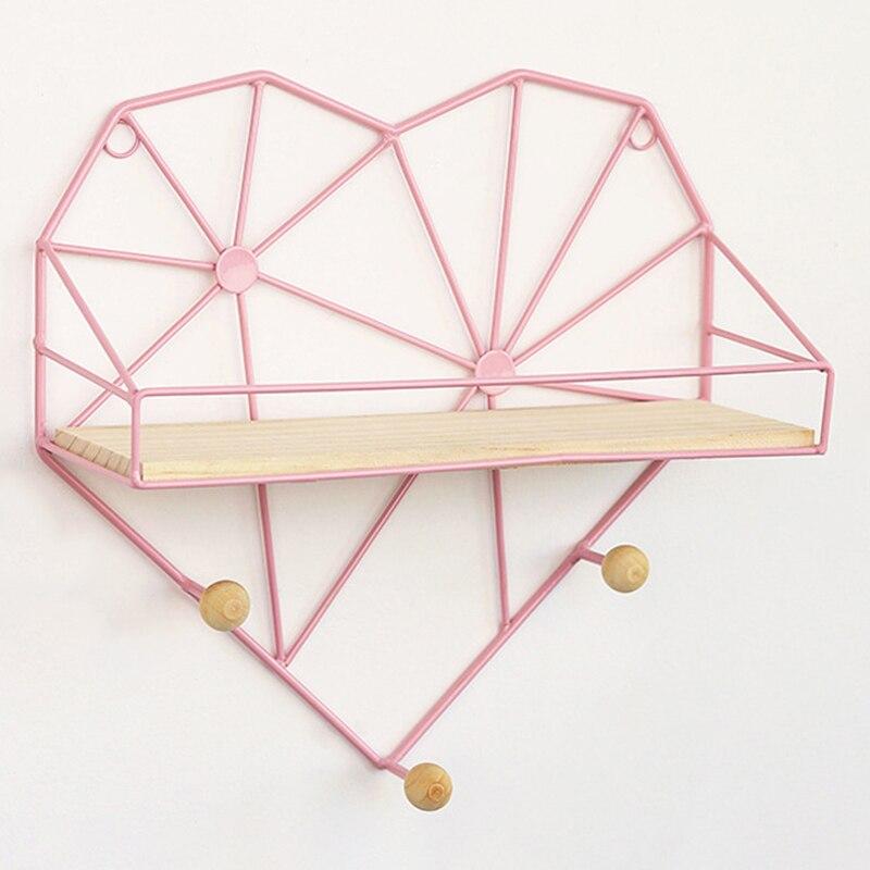 1 ud. Soporte de almacenamiento en forma de corazón estante organizador de pared de soporte estante rejilla de hierro foto creativa decoración del hogar