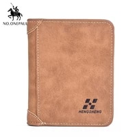 no onepaul 2020 new mens wallet short frosted leather wallet retro three fold vertical wallet youth korean multi card wallet