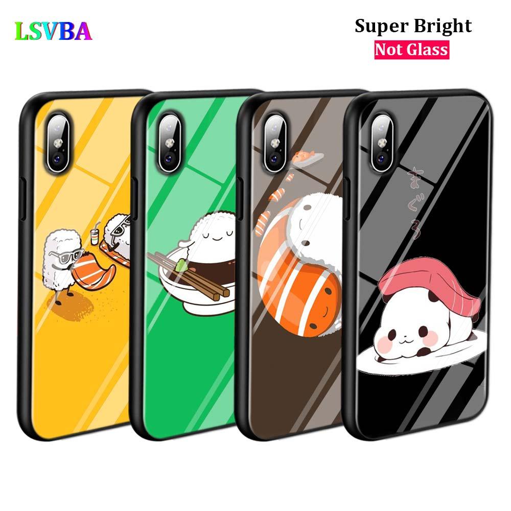 Negro cubierta de Sushi Pug iPhone 11 11Pro X XR XS Max para iPhone 8 7 6 6S Plus 5S 5 brillante caja del teléfono