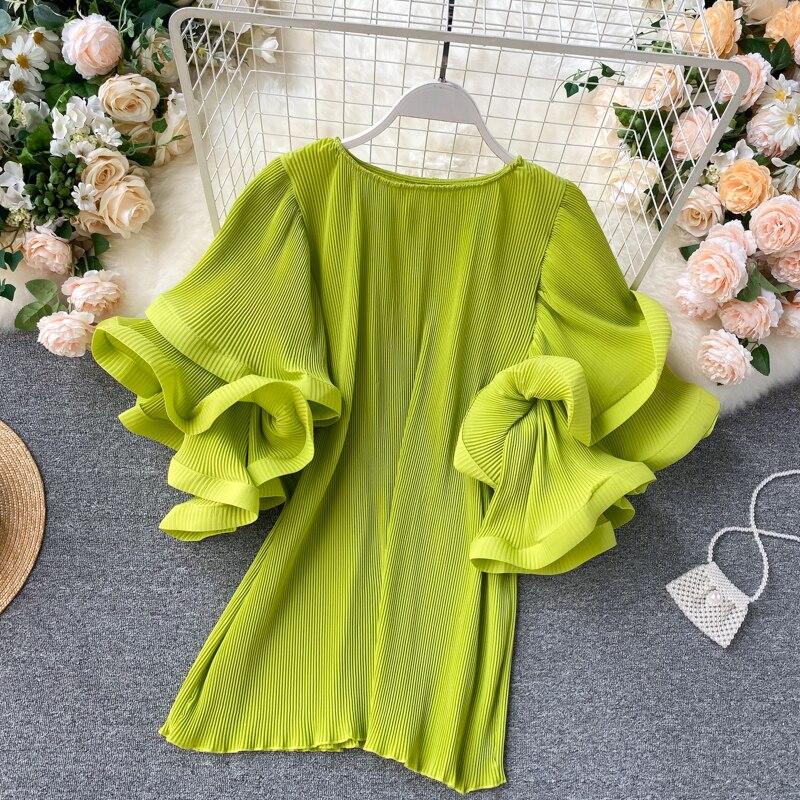 Alphalmoda 2020 novo babados manga pullovers feminino elegante chiffon camisa plissado solto verão moda topo doce cor senhoras topo