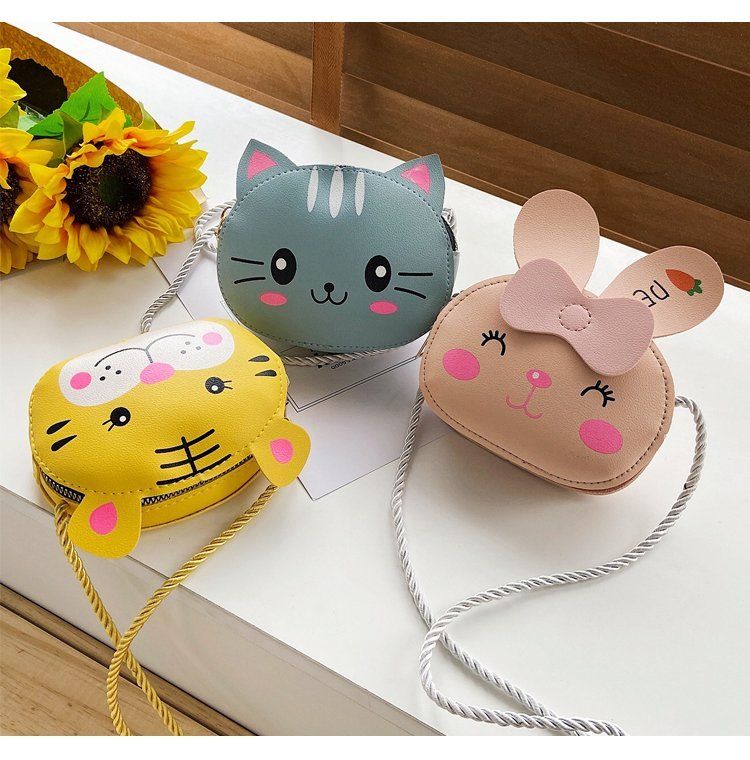 Children Cartoon Animal Shoulder Bag Plush Purse Messengers Bags Handbag Round Zipper Crossbody Bags Shoulder Bag cute shape