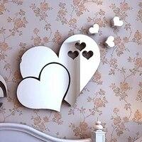Autocollants muraux en acrylique 3d en forme de coeur  miroir chaud  adhesif amovible  decor Mural pour la maison  bricolage