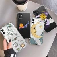 funny sun moon face phone case transparent for iphone 7 8 11 12 13 mini pro x xs xr max plus