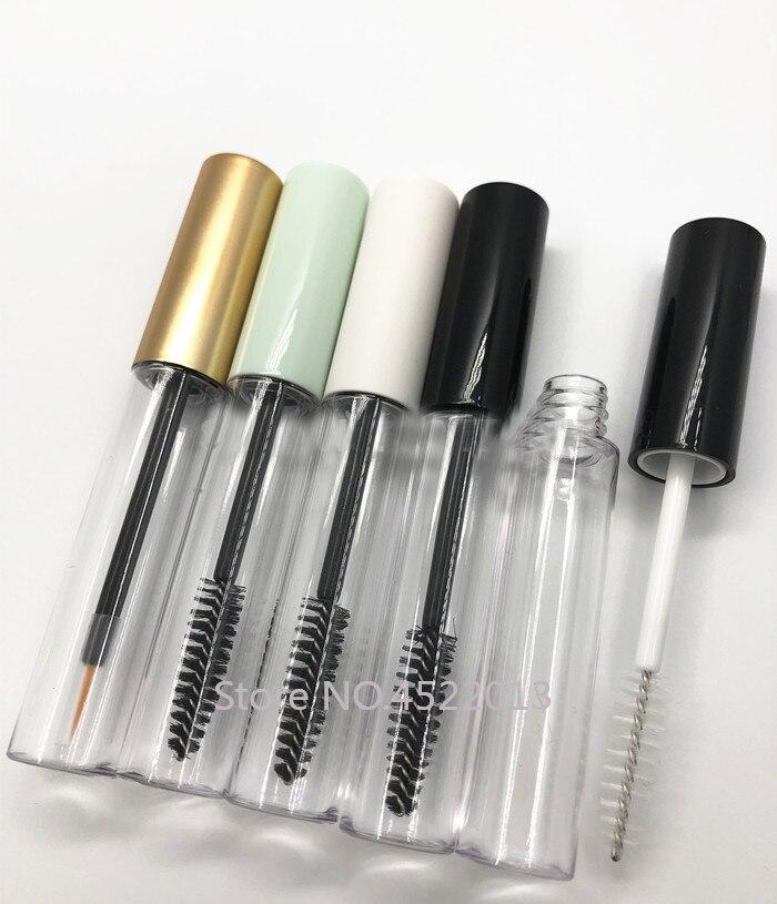 Tubo para máscara transparente vacío de 10ML con tapa blanca/negra/plateada/dorada/verde, botella de crema rellenable para maquillaje cosmético de plástico