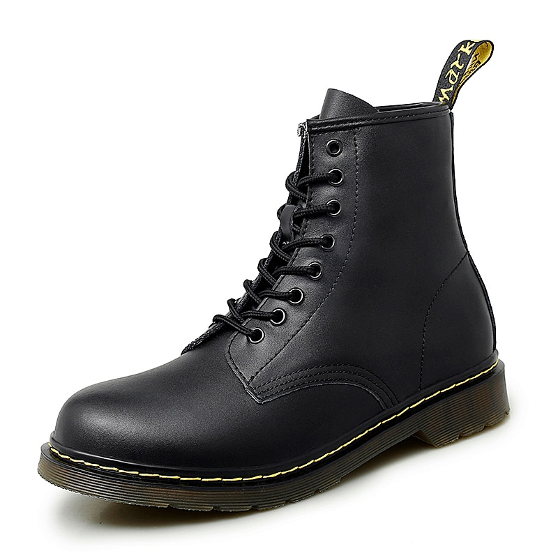 Men's Boots Women PU Ankle Boots Lace-up Motorcycle Boots Sewing Casual Shoes Flat Shoes Round Toe O