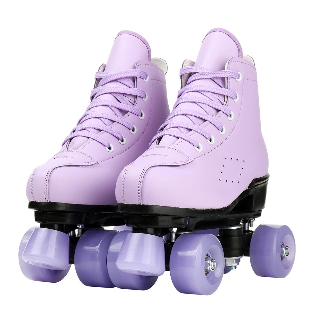 Женские роликовые коньки для девочек 2021, фиолетовые двухрядные 4-колесные коньки, обувь из искусственной кожи с флэш-колесами для раздвижны...