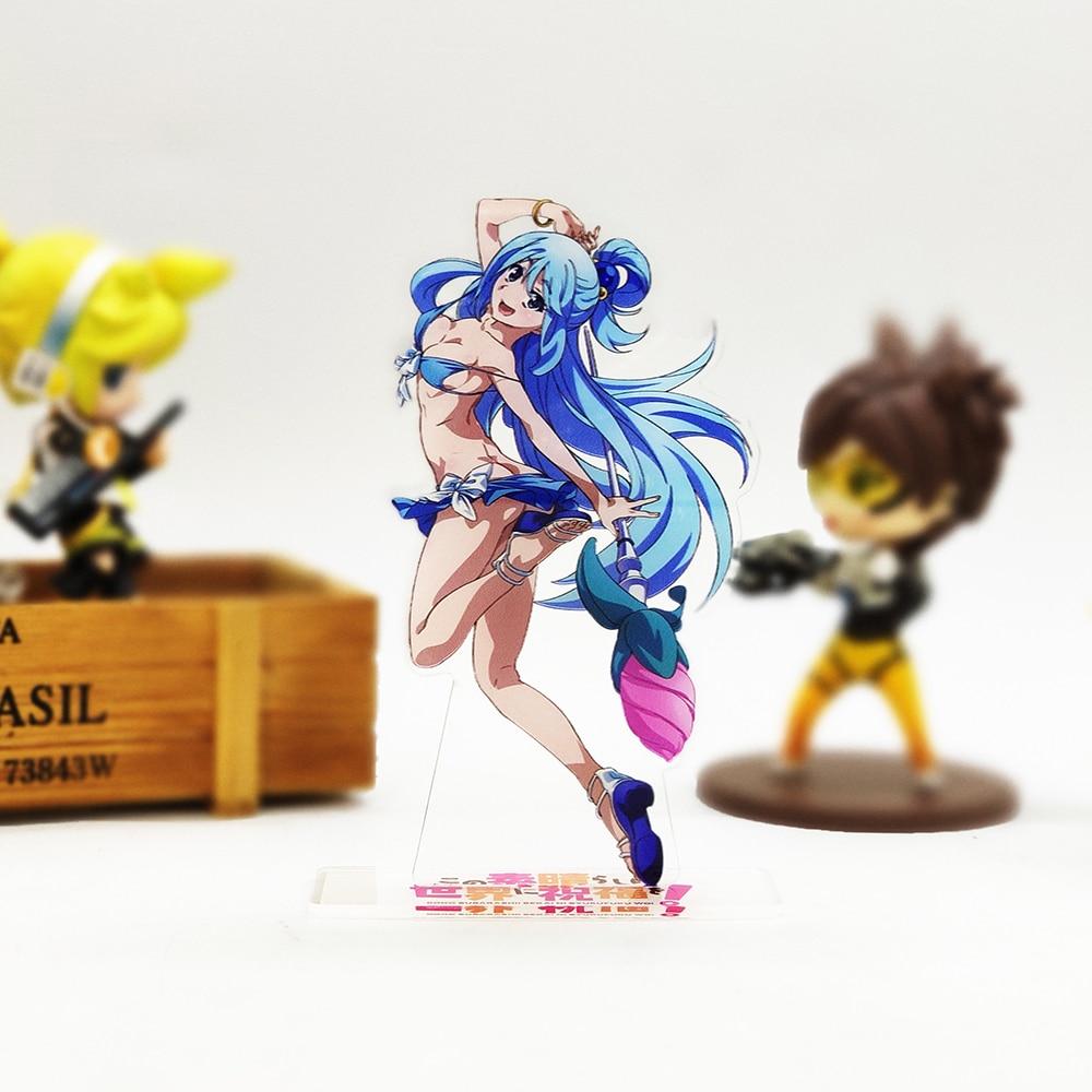 Konosuba figura de acrílico, suporte sexy para biquíni, para bolo, anime, jogos legais