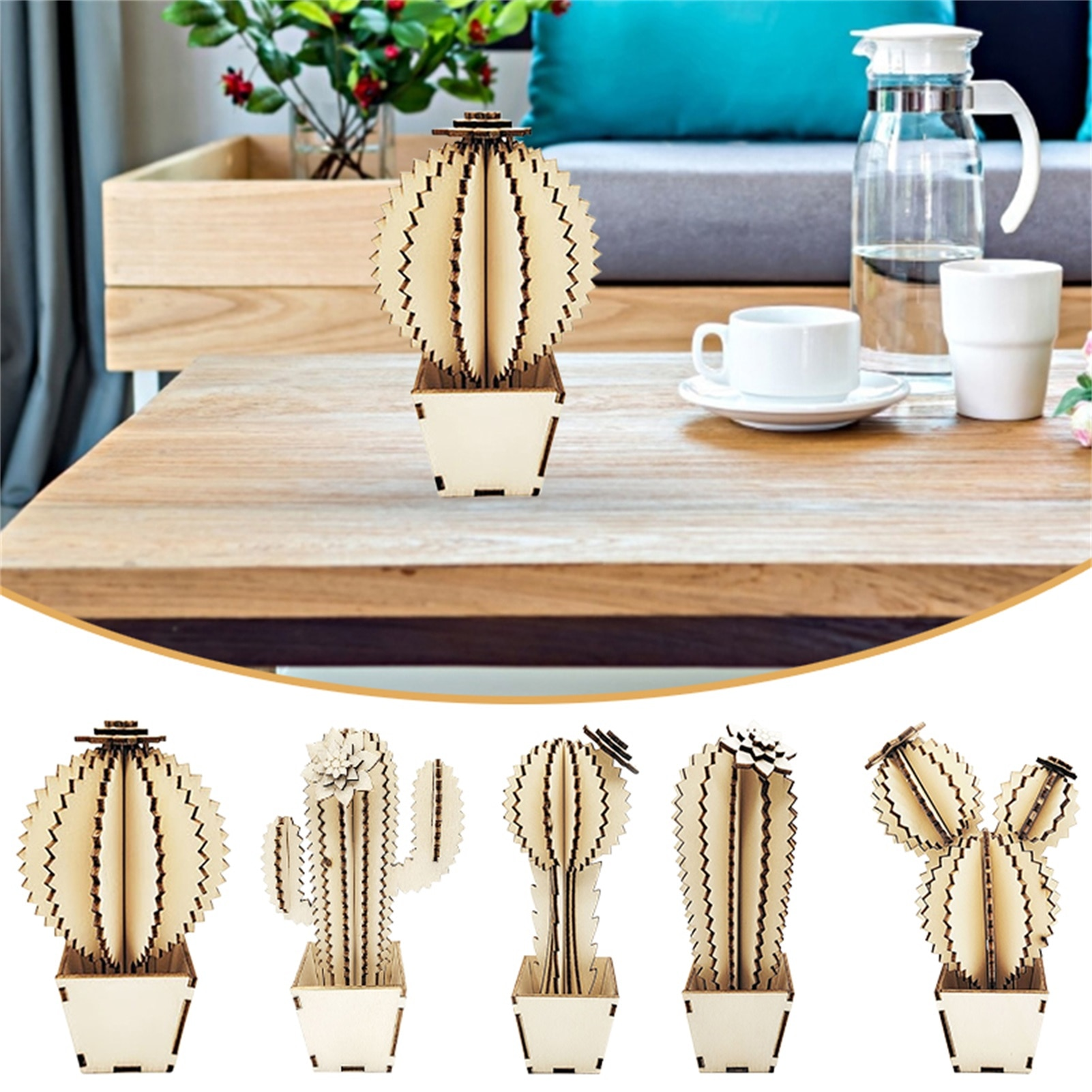 New Creative Wooden Decoration Laser Hollow Cactus DIY Fun Assembling Home Furnishing Small Fresh Party