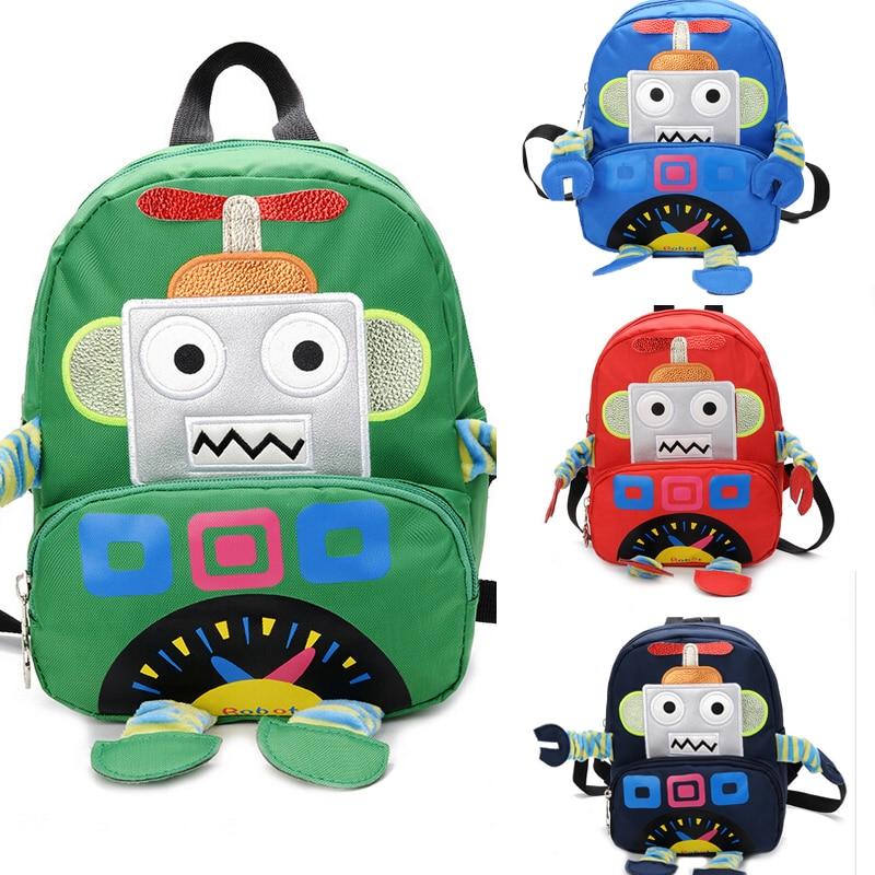 Cartoon Robot School Bag Backpack Large Capacity For Boys Kids Children Gifts