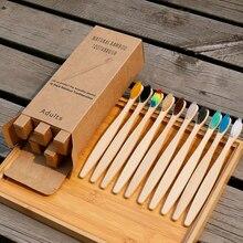 10 pçs escova de dentes eco-friendly arco-íris bambu fibra macia escova de dentes biodegradáveis escova de dentes punho de bambu sólido