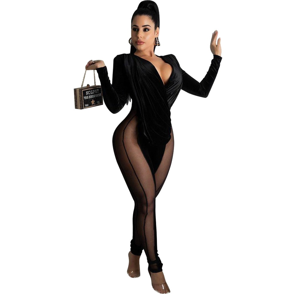 Sexy Black Sheer Mesh Patchwork Velvet Rompers Womens Jumpsuit Wrap V Neck Long Sleeve Pants Bodycon Club Party Jumpsuit Women seduction beltless mesh sheer sexy cut out jumpsuits bodycon 2020 long sleeve party club rompers womens jumpsuit black overalls