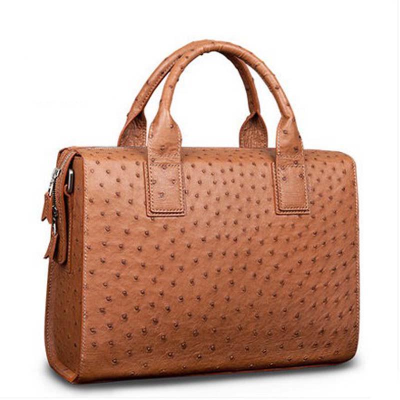 mengzhongmeng Ostrich leather Men's bag imported Ostrich leather men's handbag