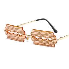 Fashion Frameless Sunglasses For Couple Dazzling Rhinestone Sunglasses Unique Driving European And A
