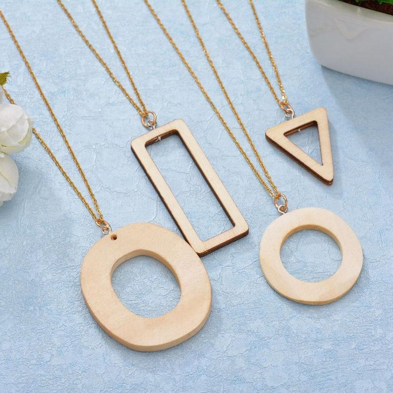 Nuevo collar Abdoabdo con colgante de madera, collar geométrico a la moda para mujer, collar de declaración, cadena de oro, cadena para clavícula, regalo para novio