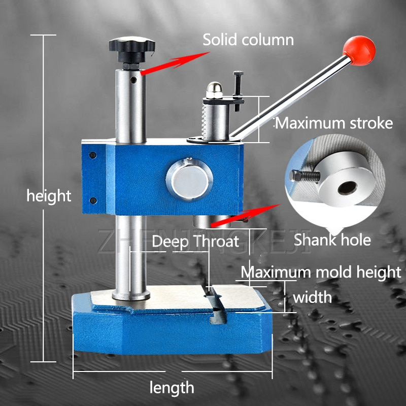 Manual Press Small Desktop Manual Punch Hand Beer Punch Punching Press Wrench Machine Electronic Hardware Zipper industry Tools enlarge