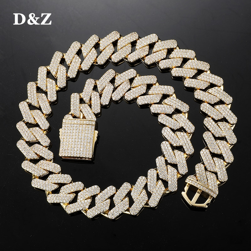 D&Z New 19mm 3Rows Miami Cuban Link Chain Spring Buckle Bling Iced Out Cubic Zirconia Necklace With Solid Back For Men Jewelry