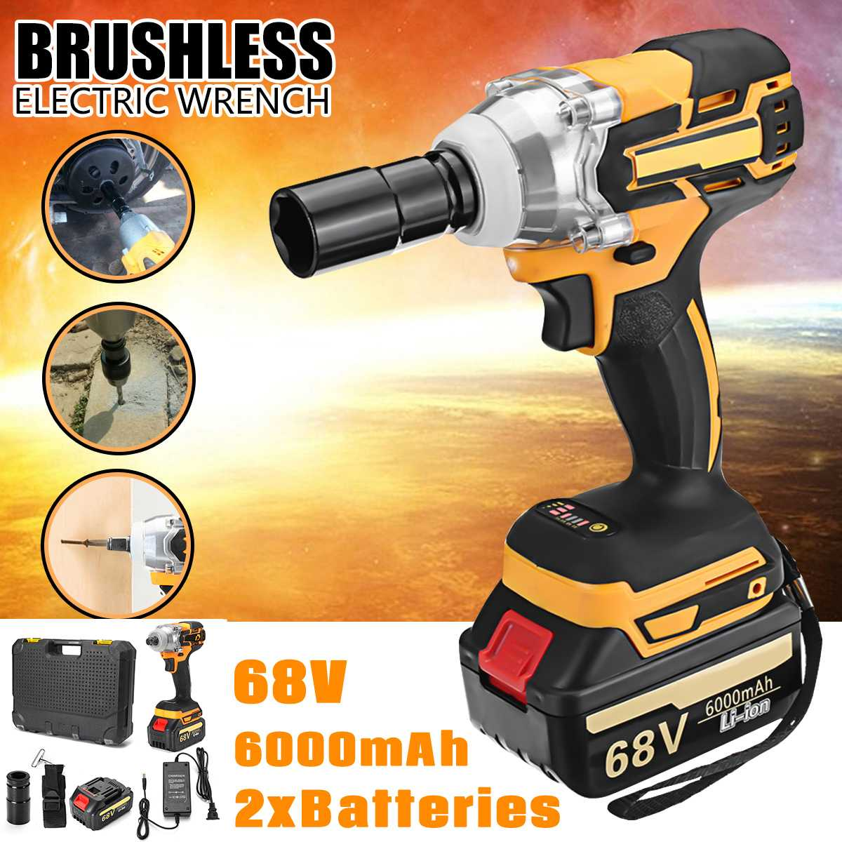 380 n.m chave elétrica 68 v 6000 mah 2 baterias sem escova sem fio movimentação mão broca soquete do carro chave de impacto elétrica