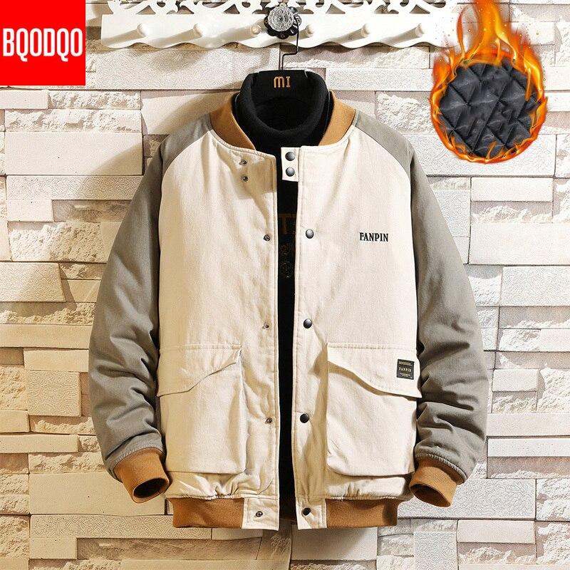 Korean Hip Hop Jacket Parkas Men Winter Cotton Thermal Fashion Jackets For Mens Japanese Large Szie Brand Baseball Collar Coat
