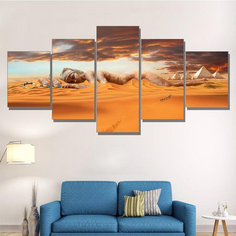 Quadros de arte da parede quadro decoração para casa sala de estar cartaz 5 pçs pirâmides egípcias pintura lona pôr-do-sol deserto deusa hd impresso