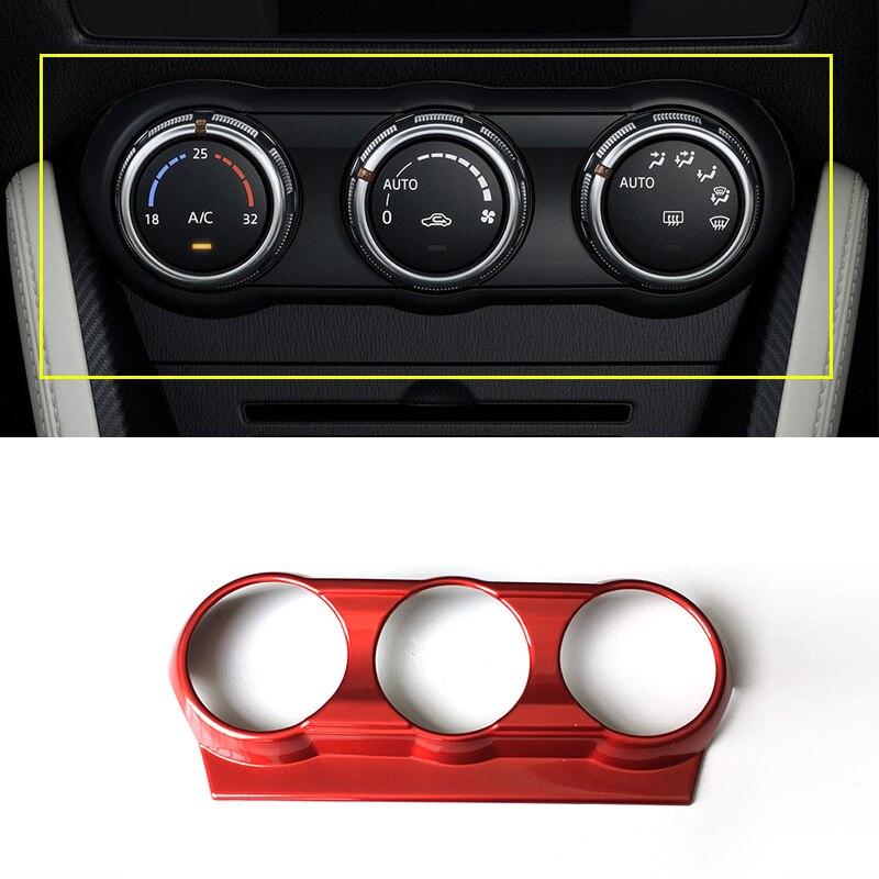 Cubierta de interruptor ABS para aire acondicionado rojo, accesorios de estilo de coche para Mazda 2 Demio DL sedán DJ Hatchback 2015-2020