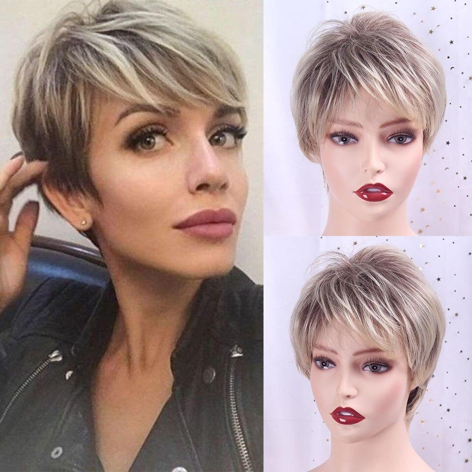 Mezcla de marrón y Rubio Pixie Cut Ombre mujer peluca peluda en capas Natural corta recta pelo sintético mujer corte de pelo TALESHE