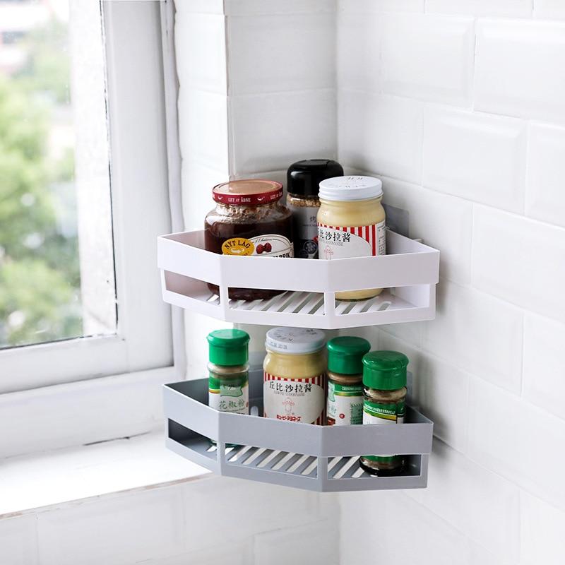 Gran oferta 3 colores baño champú ducha estante titular ventosa esquina ducha estante accesorios de baño estante de pared