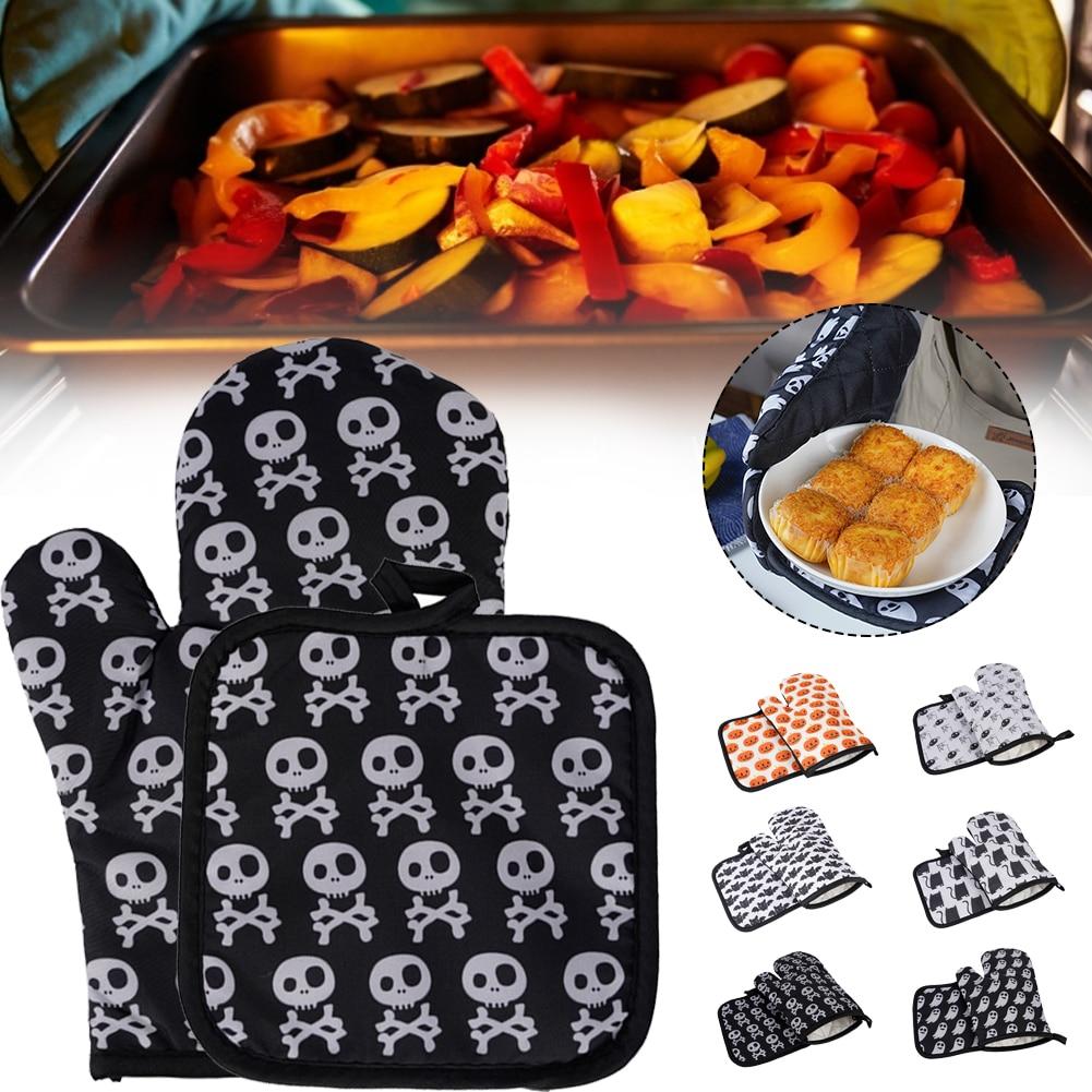 1 пара, варежки для духовки, перчатка для выпечки, барбекю, хлопковые Симпатичные варежки для духовки, термостойкие льняные варежки, Несколь...