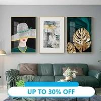 Peintures sur toile mode abstraite femme  affiches murales nordiques et imprimes  images dorees pour la decoration de la maison du salon