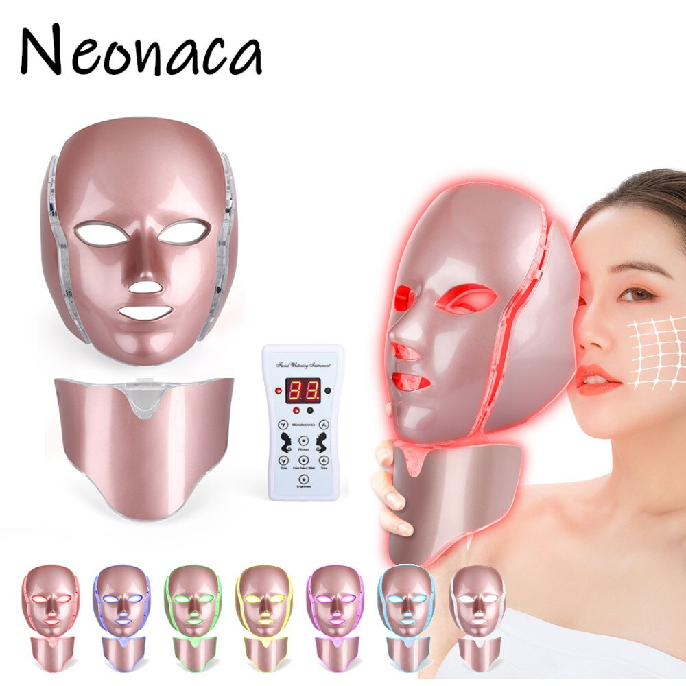 LED Photon Therapy 7 Color Light Photon Skin Rejuvenation Face Neck Mask Treatment Anti Aging Removal Wrinkle Facial Skin Care