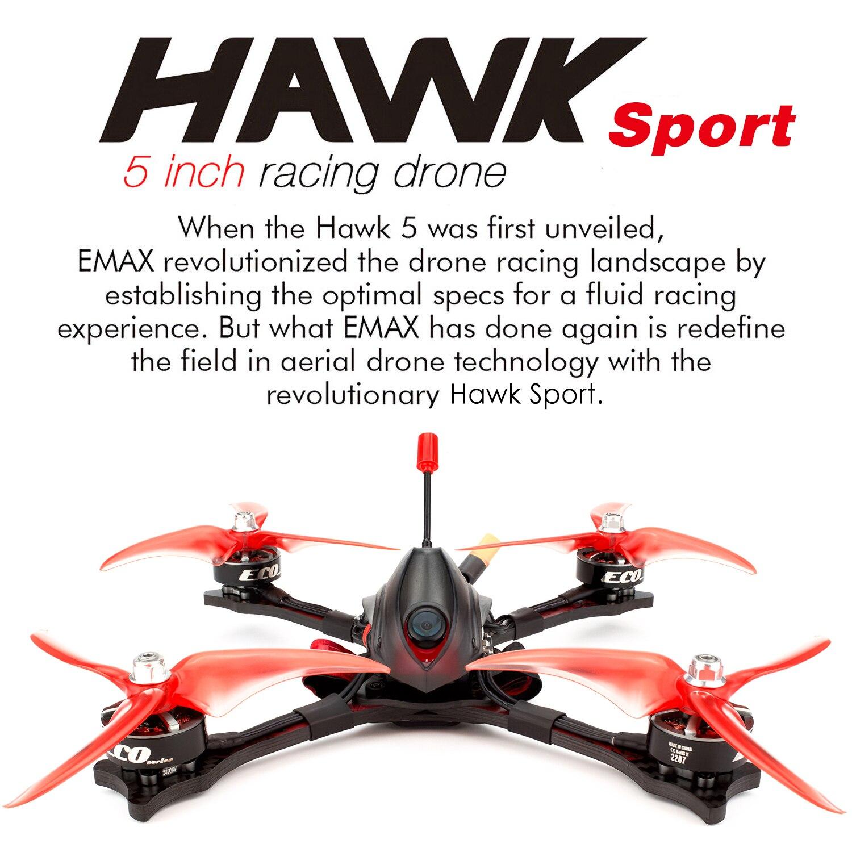 EMAX Hawk deporte Dron de carreras con visión en primera persona con cámara 1200TVL 2207 2400KV Motor sin escobillas 35A CES F4 pequeño D8 FrSky receptor BNF Mini Dron