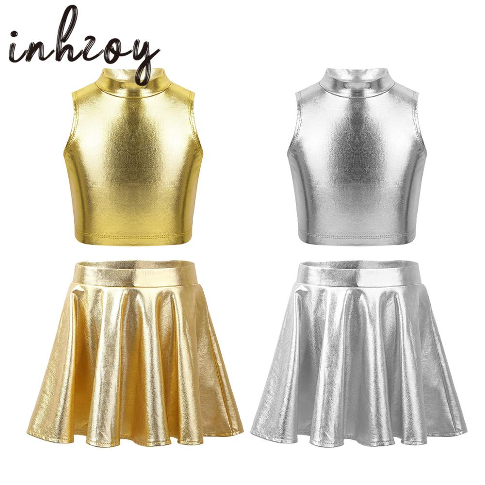 Ballet Dance Clothes For Girls Kids Stage Party Dance Costume Set Metallic Sleeveless Tops With Flar