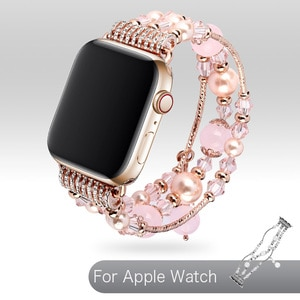 Ladies Watchband For Apple Watch Series SE 6 5 4 Strap 40/44mm Woman Wrist Bracelet Jewelry Agate Elastic Band For Apple Series