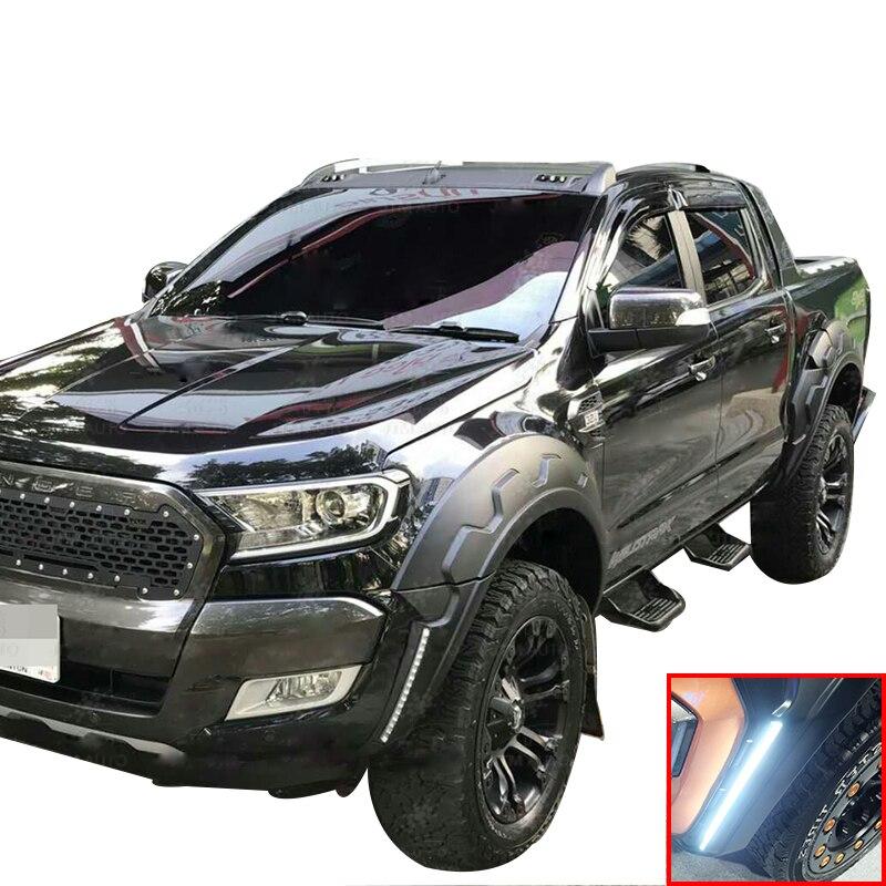 DRL واقيات الطين لحماية قوس العجلة, لفورد رينجر MK2 PX Wildtrak T7 2015 2016 2017 2018 ، كابينة مزدوجة ، اكسسوارات السيارات