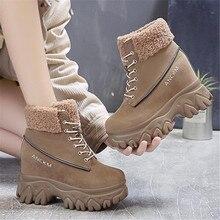 Mode femmes bottes de neige compensées dames 10cm hauteur augmentant la plate-forme en peluche chaussures chaudes femme à lacets bottines Botas Mujer