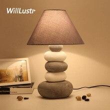 Creative Ceramic Table Light Fabric Shade Modern Cobblestone Lamp Hotel Living Room Study Bedside Fashion Porcelain Lighting